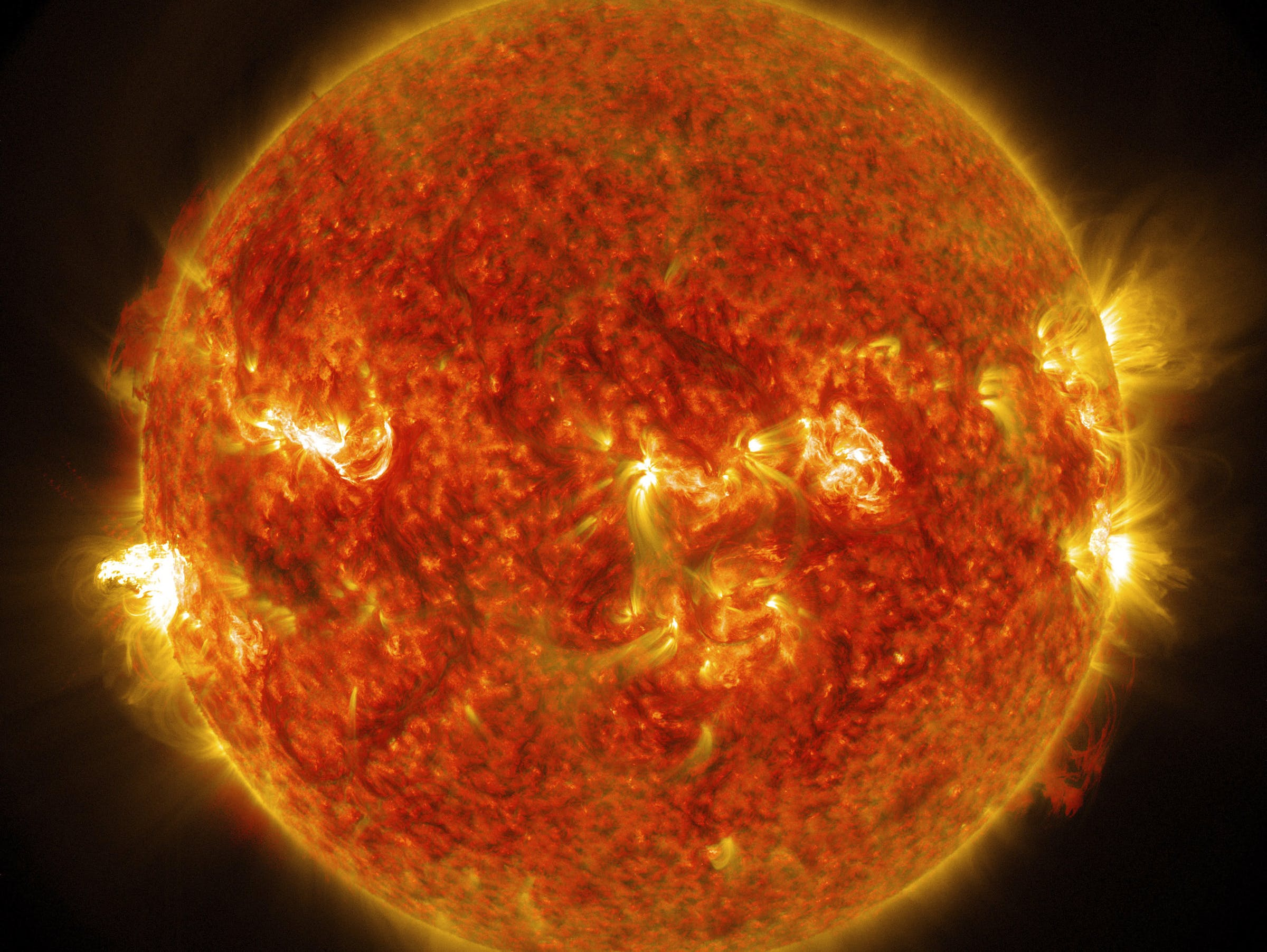 NASA's Solar Dynamics Observatory captured images of the sun emitting a mid-level solar flare. Original from NASA. Digitally enhanced by rawpixel.