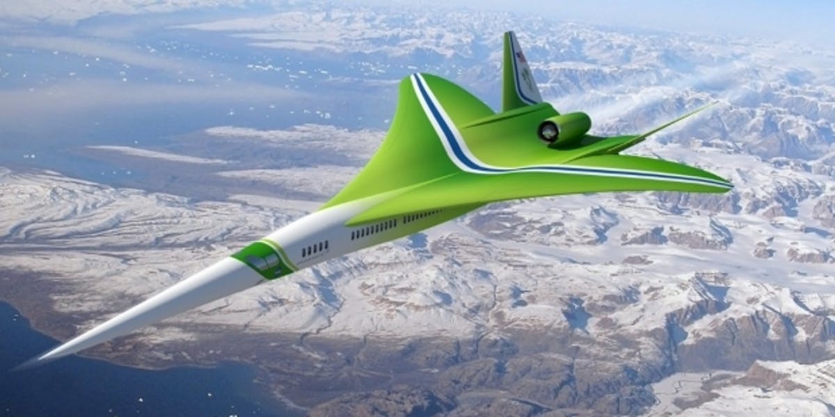 An artist rendering of Lockheed Martin's super sonic plane design shows its pointy, slick shape.