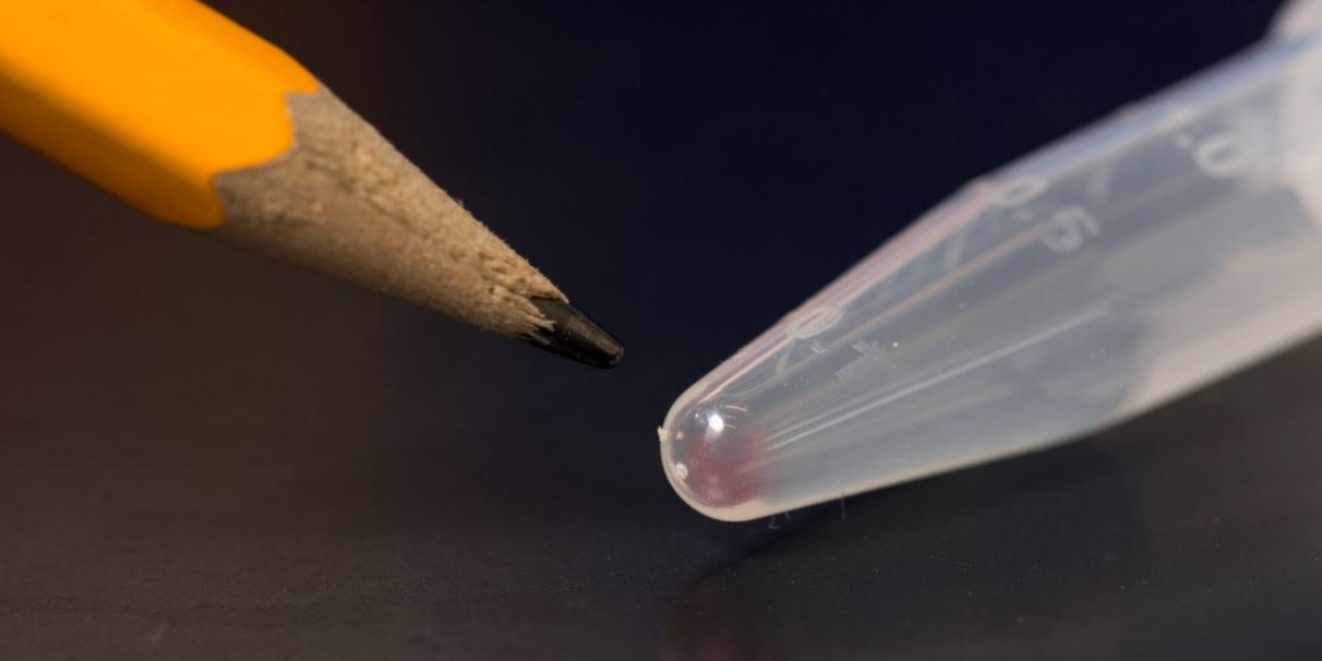 Digital data from more than 600 basic smartphones can be stored in the faint pink smear of DNA at the end of this test tube.