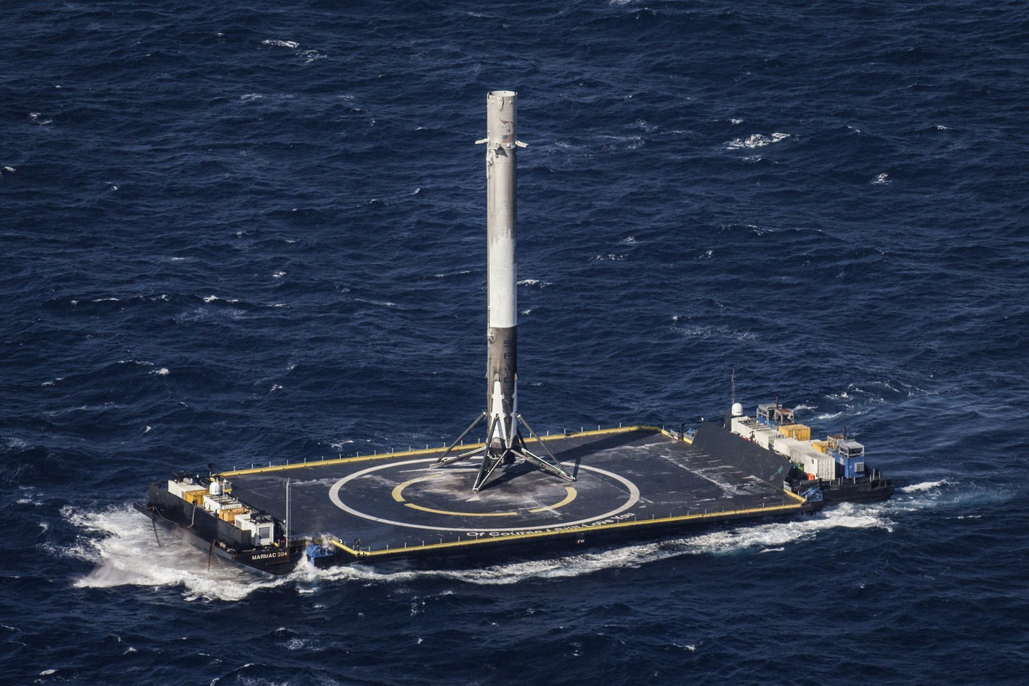 In April, Falcon 9 landed on an autonomous spaceport drone ship.  During this mission, a Dragon cargo spacecraft was delivered to the International Space Station.