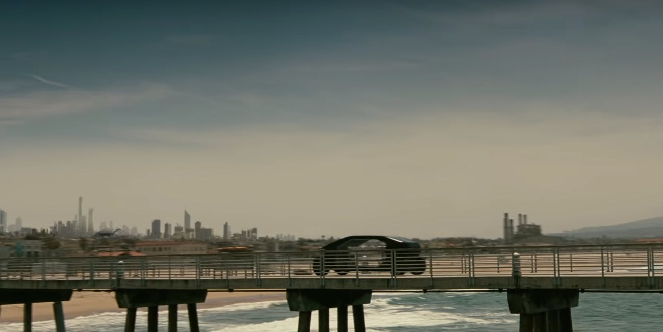 Still from 'Westworld III' teaser trailer with car and pier