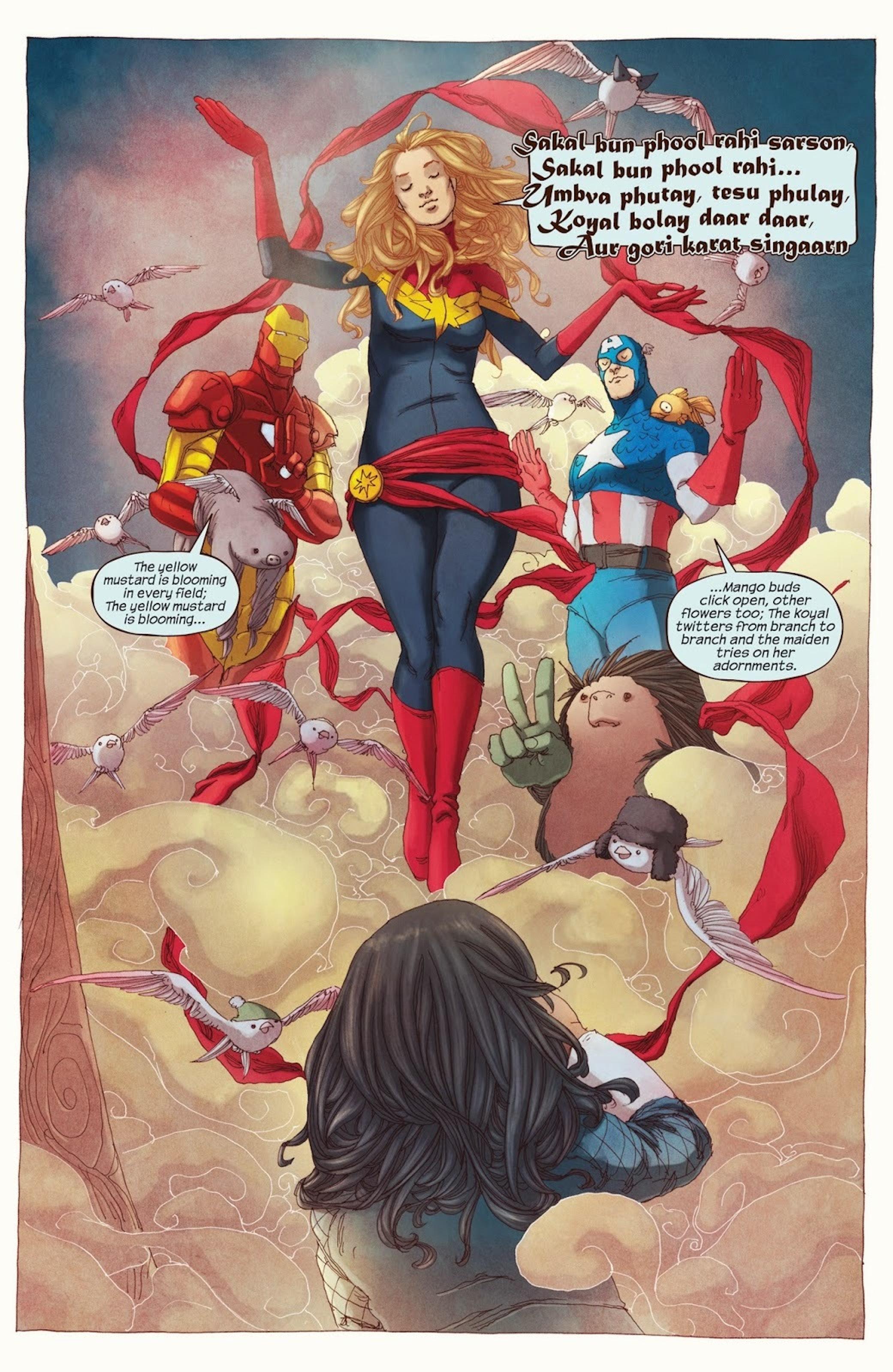 Kamala hallucinates her heroes coming to her during her Terrigenesis in 'Ms. Marvel' #1 (2014)