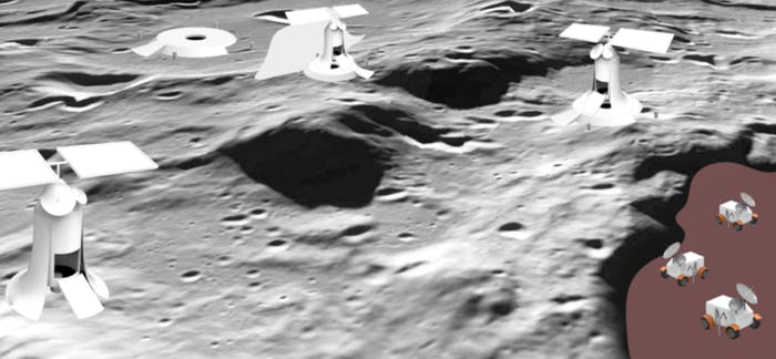 Mining operations on the moon, an artist's rendering.