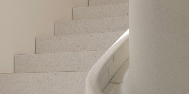 Even the staircases feature a gorgeous marble hue.
