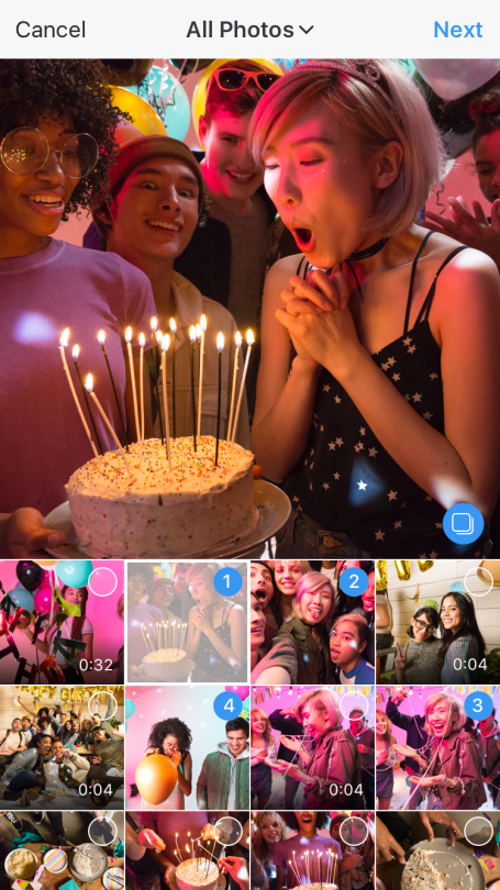 Instagram has added an option to post multiple photos at a time.