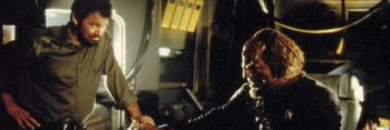 Frakes directs co-star Michael Dorn as Worf on the set of 'Star Trek: First Contact.'