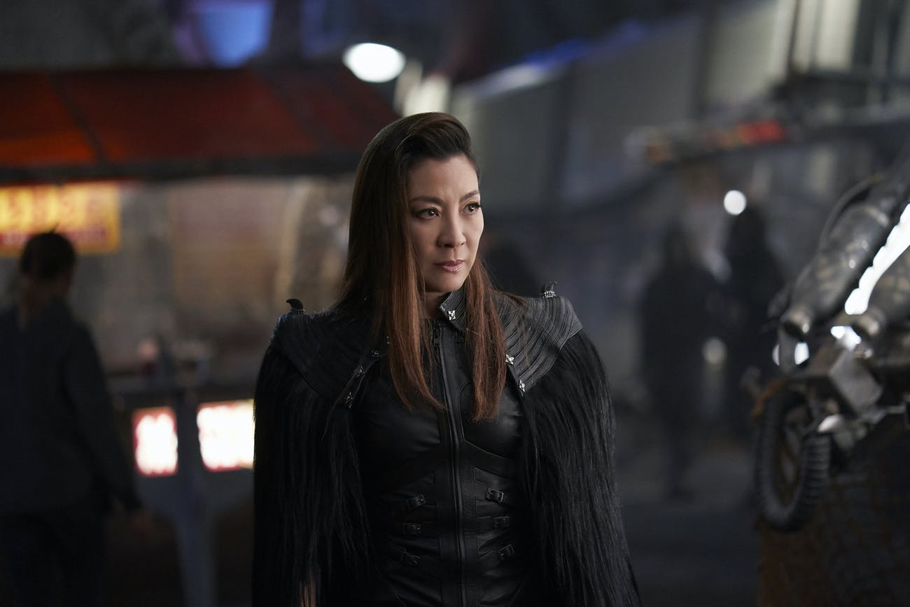 The Emperor (Michelle Yeoh) didn't stay in her Starfleet uniform for long.