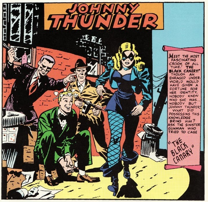 Black Canary in her first appearance in 'Flash Comics' alongside Johnny Thunder.