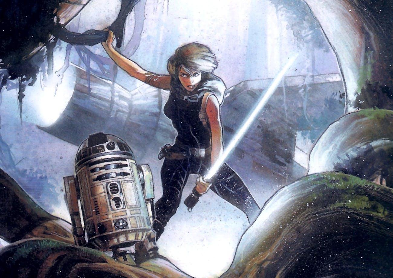 Mara Jade and R2-D2 in the Dark Horse Comics version of 'Heir to the Empire'Mara Jade and R2-D2 in the Dark Horse Comics version of 'Heir to the Empire'