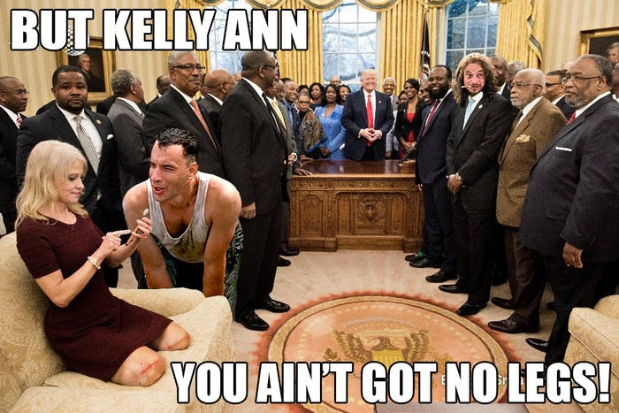 Kellyanne Conway's strange sitting position sparked a slew of memes.