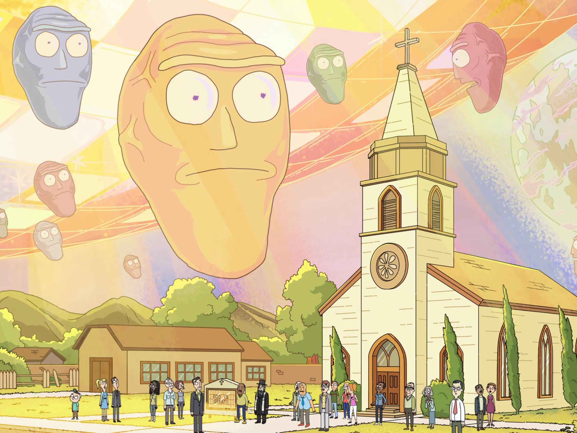 """Cromulons invade Earth in the 'Rick and Morty' Season 2 Episode """"Get Schwifty."""""""