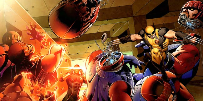 Wolverine and Cyclops fight Sentinels in 'X-Men: Schism #1' (July 2011). Art by Carlos Pacheco and Cam Smith.