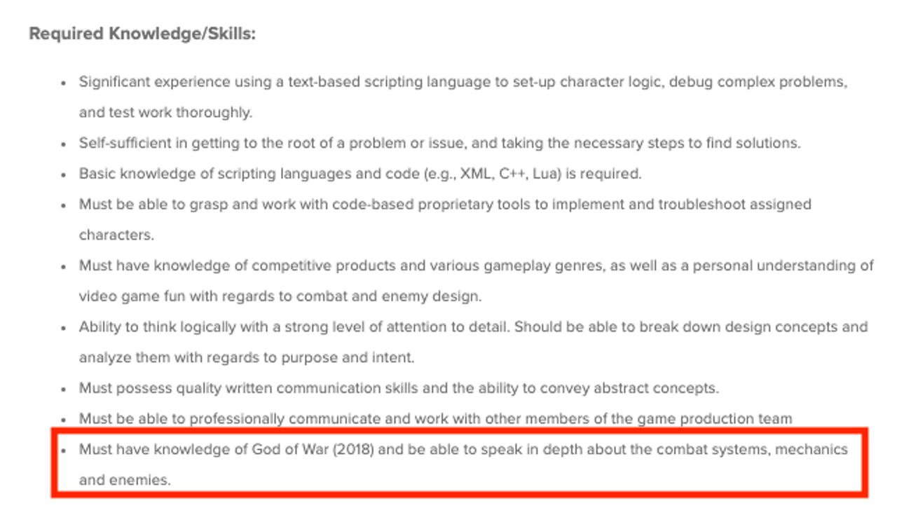 santa monica studio job listing god of war playstation hint