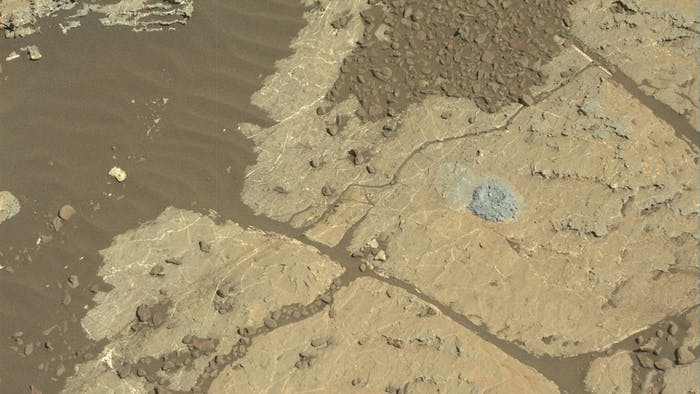 NASA's Mars rover Curiosity used a new drilling method to produce a hole on Feb. 26, 2018, in a rock target named Lake Orcadie. The hole marks the first operation of the rover's drill since a motor problem began acting up more than a year ago.