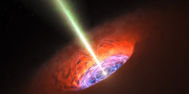 Artist's impression of an inner accretion flow and a jet from a supermassive black hole when it is actively feeding, for example, from a star that it recent tore apart.