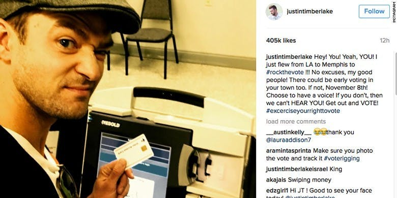 Justin Timberlake's controversial (now deleted) voting selfie.