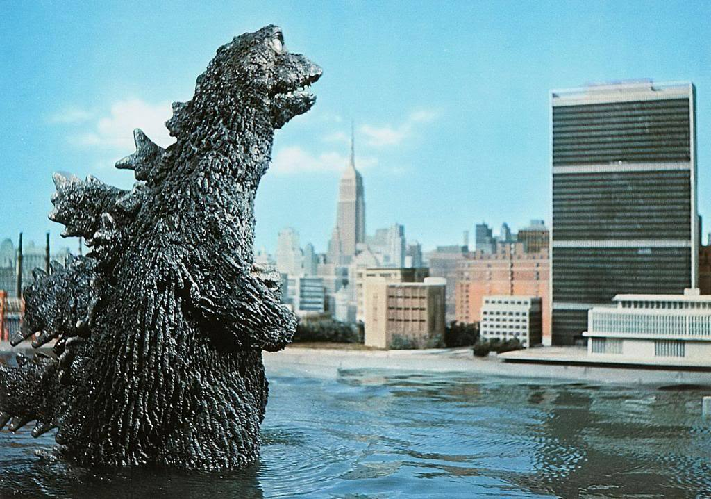 Godzilla attacks the United Nations in 'Destroy All Monsters.'