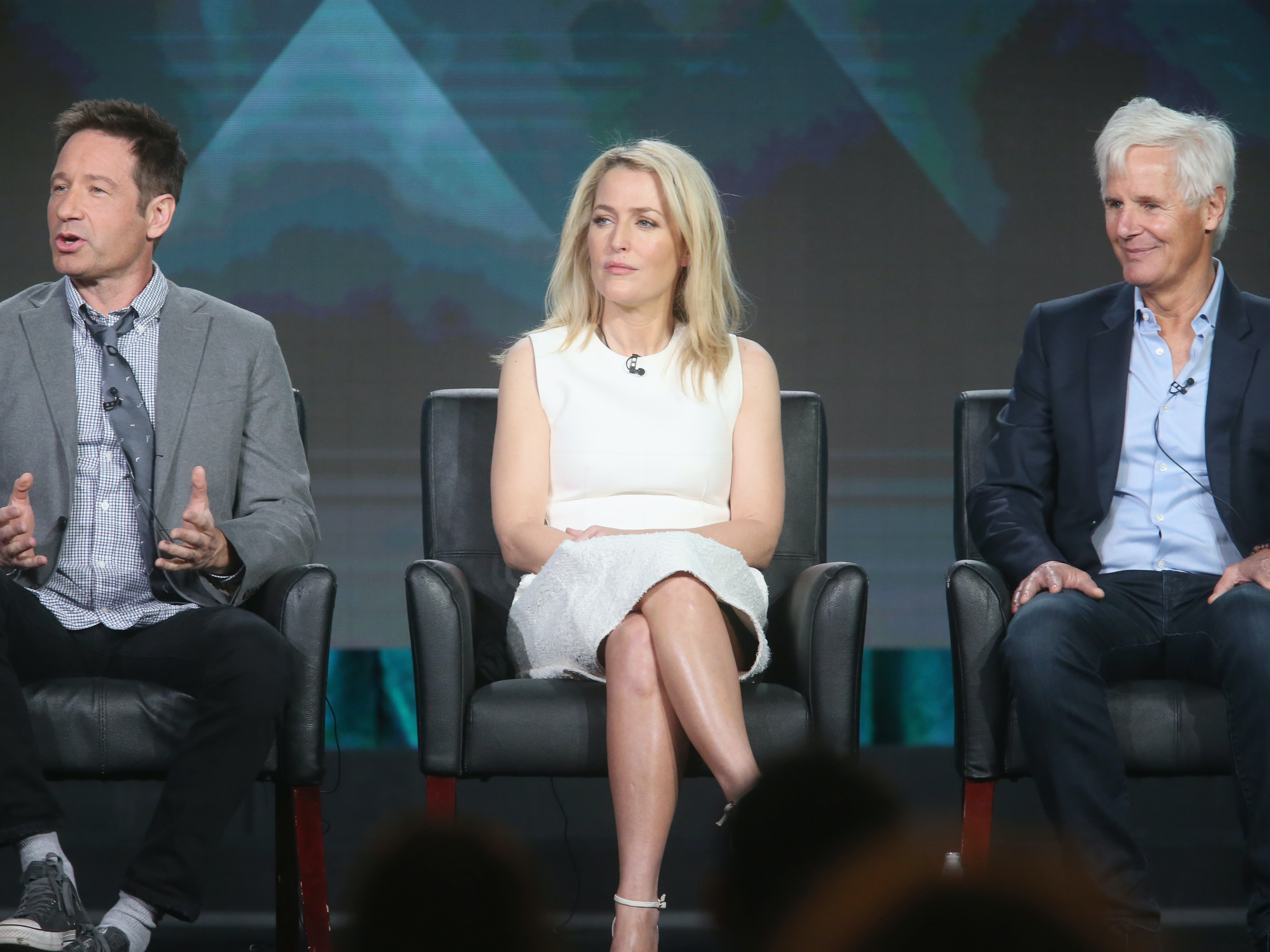 PASADENA, CA - JANUARY 15:  Actors Joel McHale, David Duchovny and Gillian Anderson speak onstage during 'The X-Files' panel discussion at the FOX portion of the 2015 Winter TCA Tour at the Langham Huntington Hotel on January 15, 2016 in Pasadena, California  (Photo by Frederick M. Brown/Getty Images)