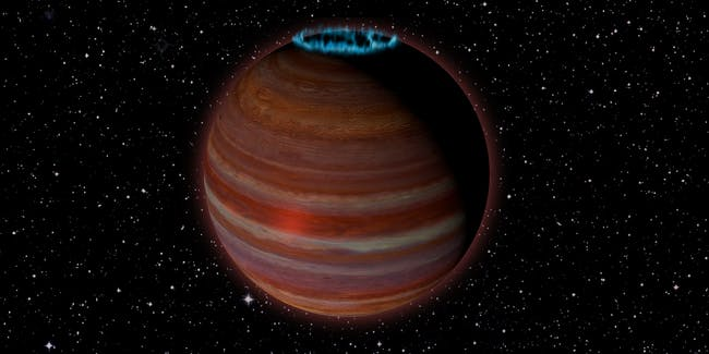 Artist's conception of SIMP J01365663+0933473, an object with 12.7 times the mass of Jupiter, but a magnetic field 200 times more powerful than Jupiter's. This object is 20 light-years from Earth.