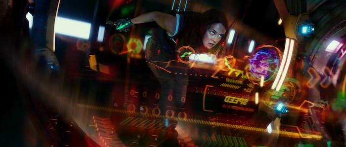 Amara piloting her custom-built small Jaeger called Scrapper in 'Pacific Rim Uprising'.