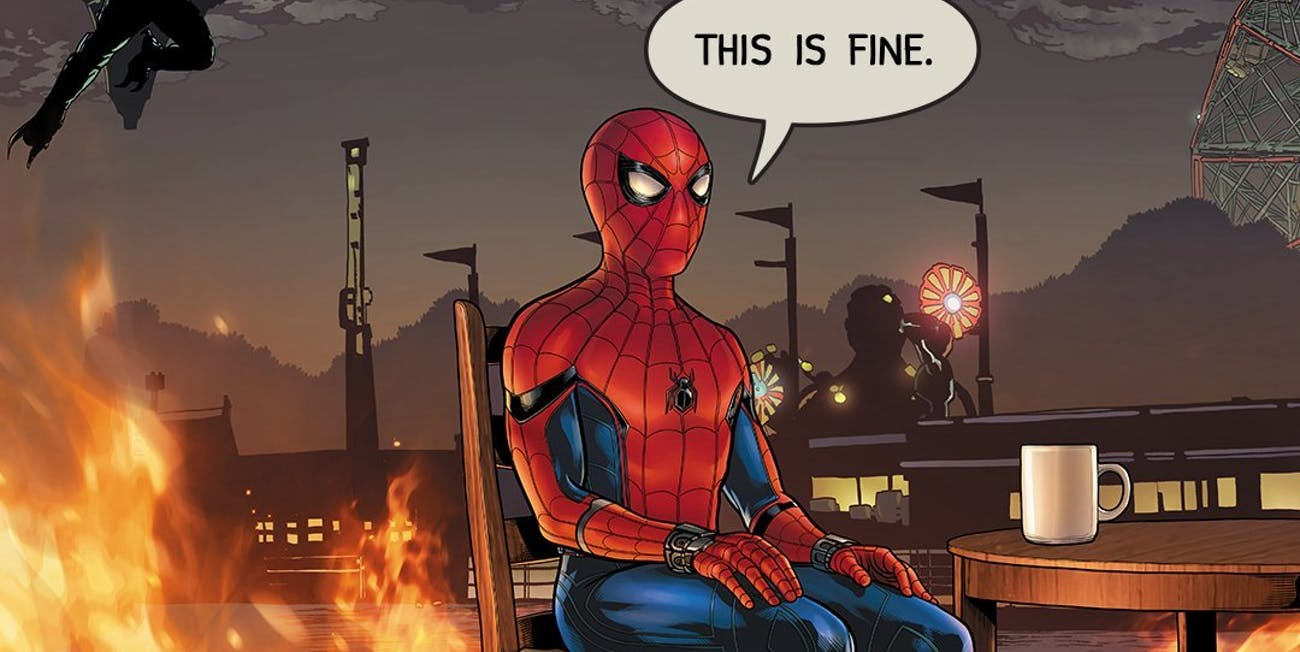 Spider Man And The This Is Fine Dog Have A Lot In Common