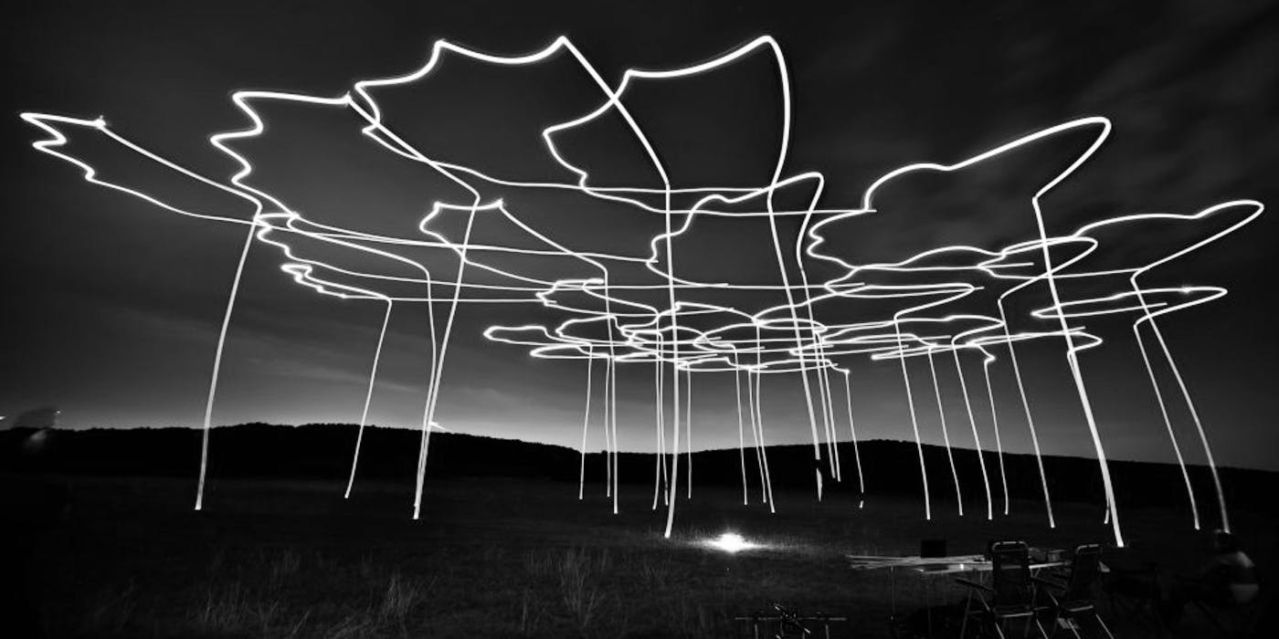 drone flocks lights night sky