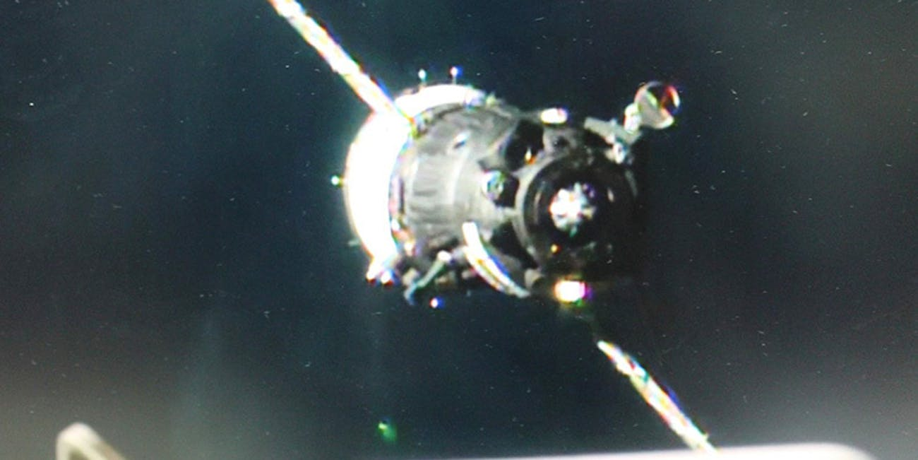 The Soyuz MS-03 spacecraft arrives at the space station.