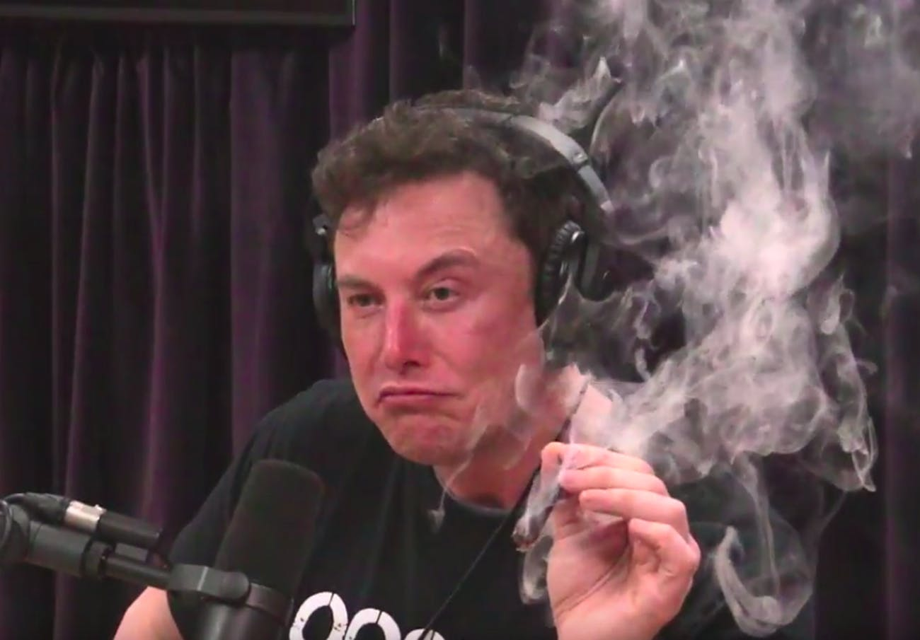 Elon Musk smoking weed on Joe Rogan's podcast/talk show on Thursday night.