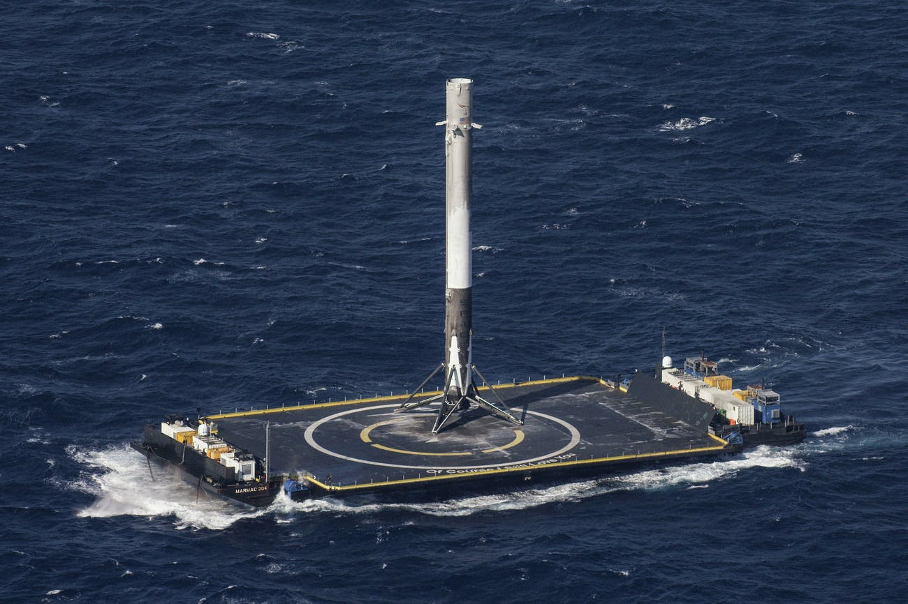 "The Falcon 9 stands up on the droneship ""Of Course I Still Love You', the name of which was taken from a ship in an Iain M. Banks book."