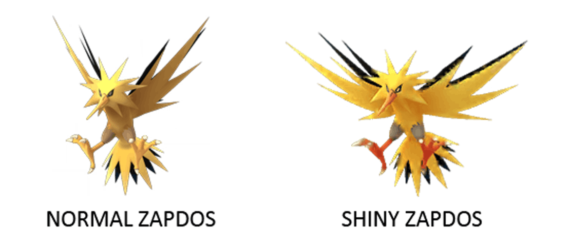 Normal Zapdos and Shiny Zapdos Pokemon GO
