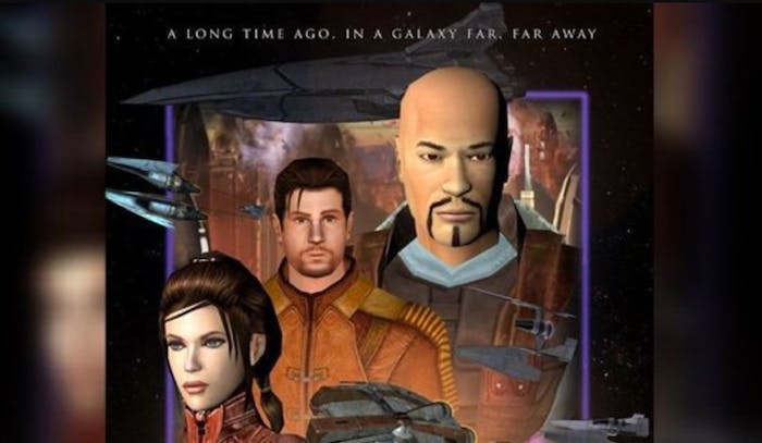 Logan, aka Revan, appears at the top-right alongside canon characters Carth Onasi (middle) and Bastila Shan (left) and  in a poster for the HD re-release