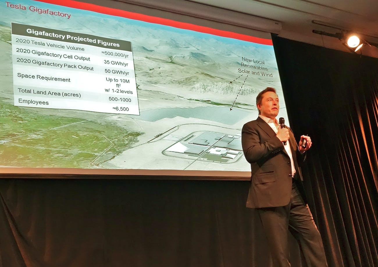 Elon Musk describing the Tesla Gigafactory