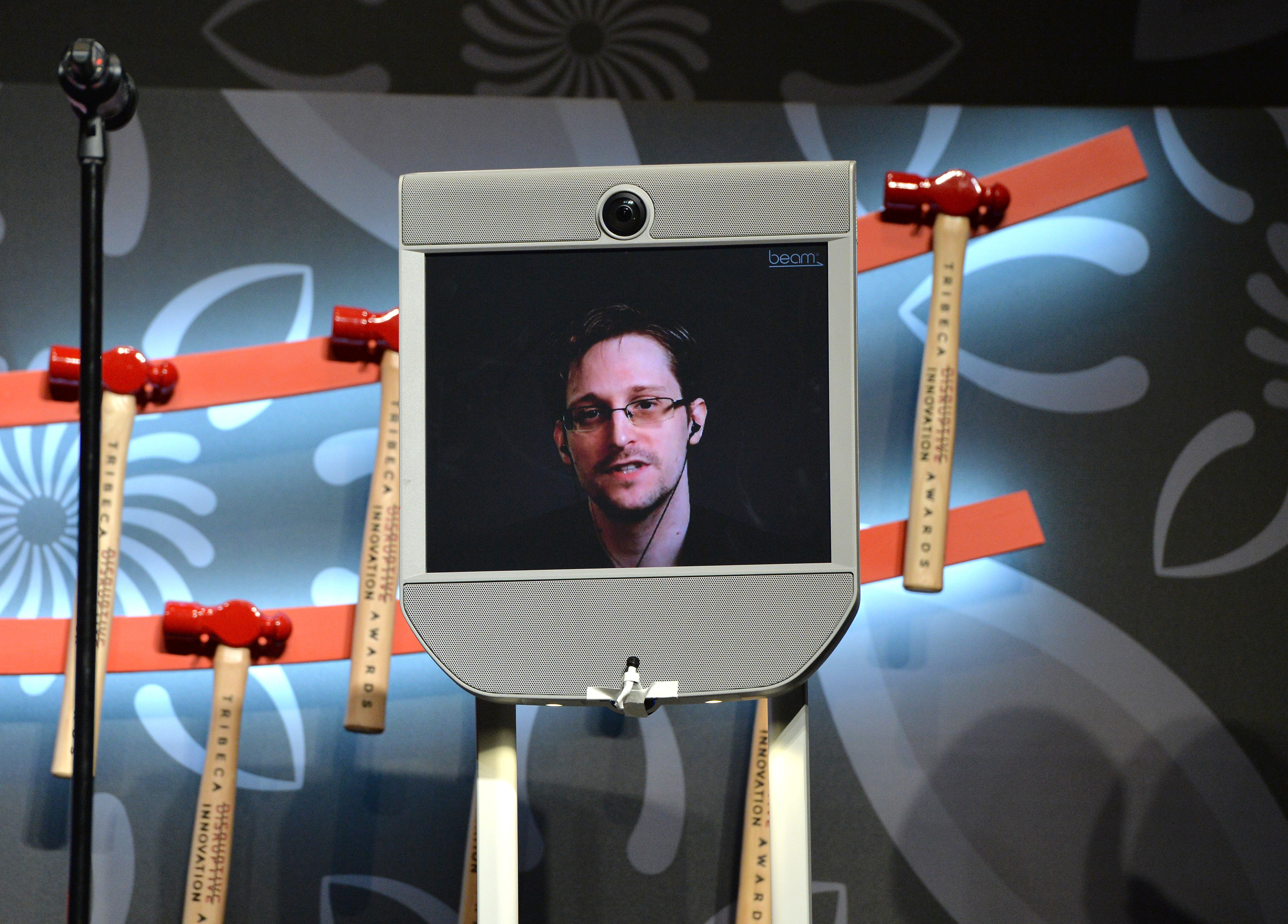 NEW YORK NY- APRIL 22 Edward Snowden speaks on stage at Tribeca Disruptive Innovation Awards- 2016 Tribeca Film Festival at BMCC John Zuccotti Theater