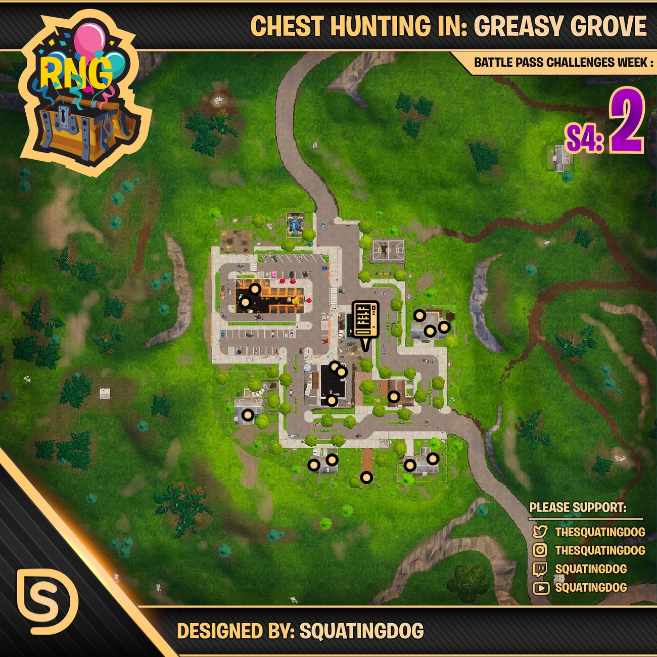 greasy grove chest map - fortnite time challenges