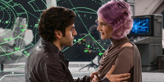 Poe Dameon and Admiral Holdo in 'The Last Jedi'.