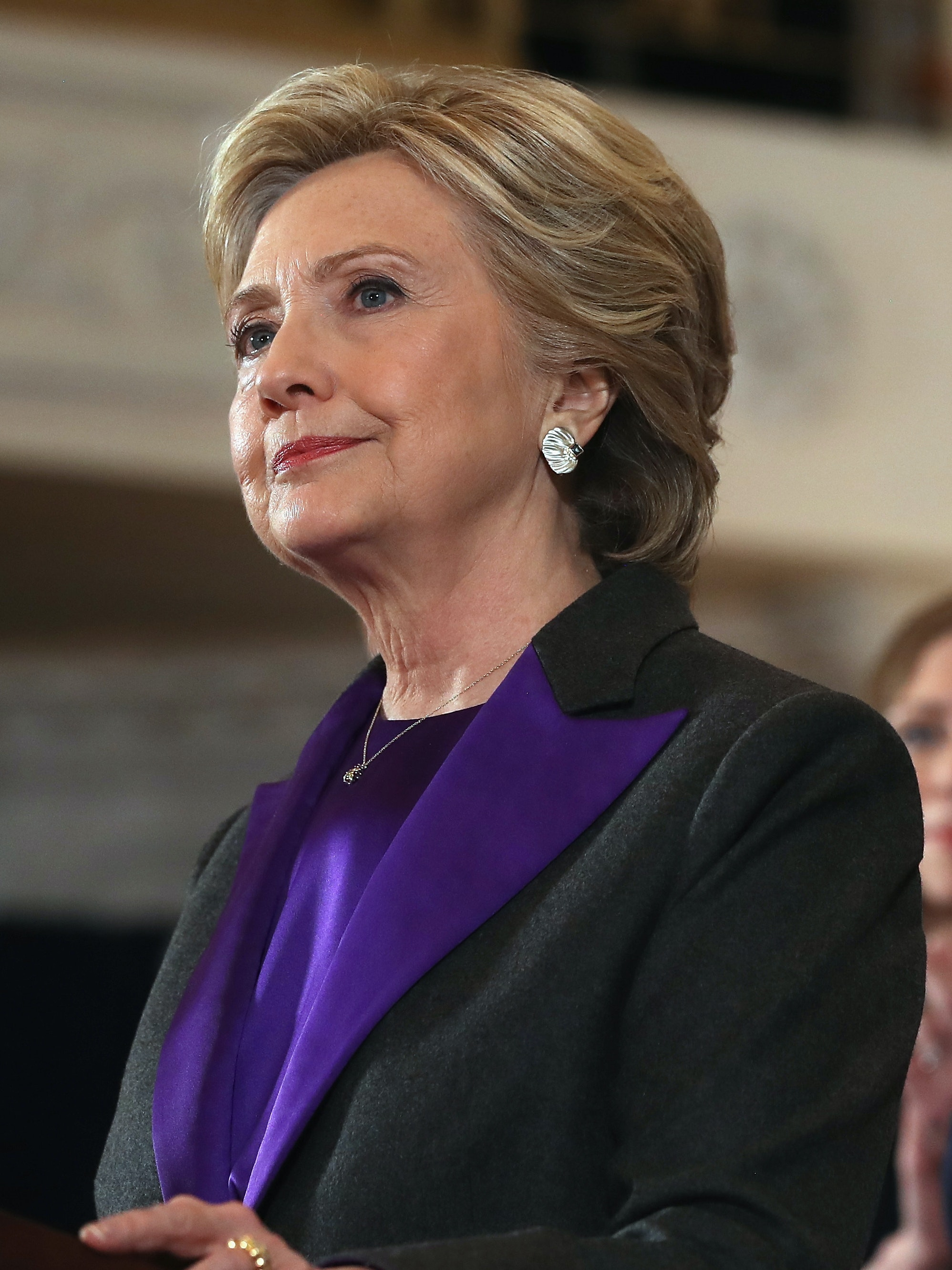NEW YORK, NY - NOVEMBER 09:  Former Secretary of State Hillary Clinton, accompanied by her husband former President Bill Clinton, concedes the presidential election at the New Yorker Hotel on November 9, 2016 in New York City. Republican candidate Donald Trump won the 2016 presidential election in the early hours of the morning in a widely unforeseen upset.  (Photo by Justin Sullivan/Getty Images)