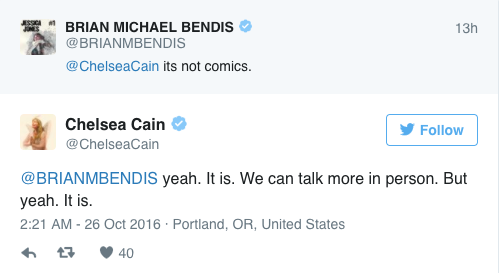 Chelsea Cain's tweet is pictured here, because the author has since deleted her Twitter account.