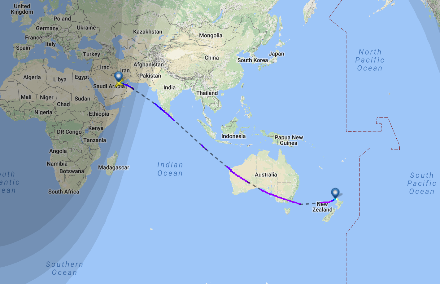 This Map Shows Qatar Airways New Zealand Route The World S Longest Flight Inverse