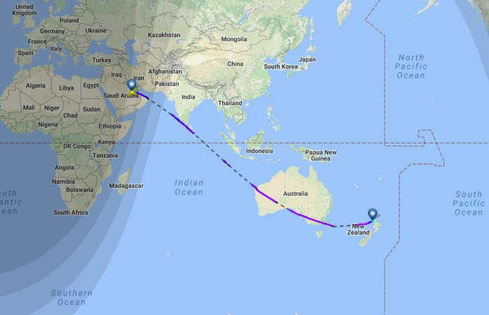The world's longest flight, from Doha to Auckland, landed on Monday.