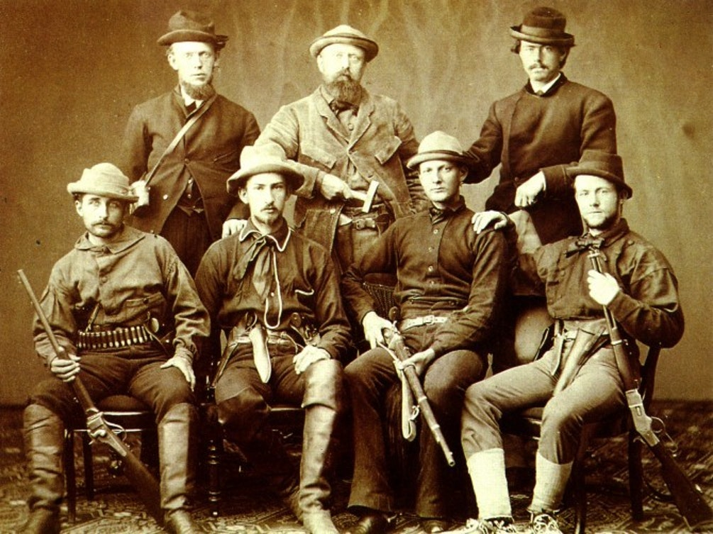 Othniel Charles Marsh (back row, center) and assistants prepare for a dinosaur dig in 1872.