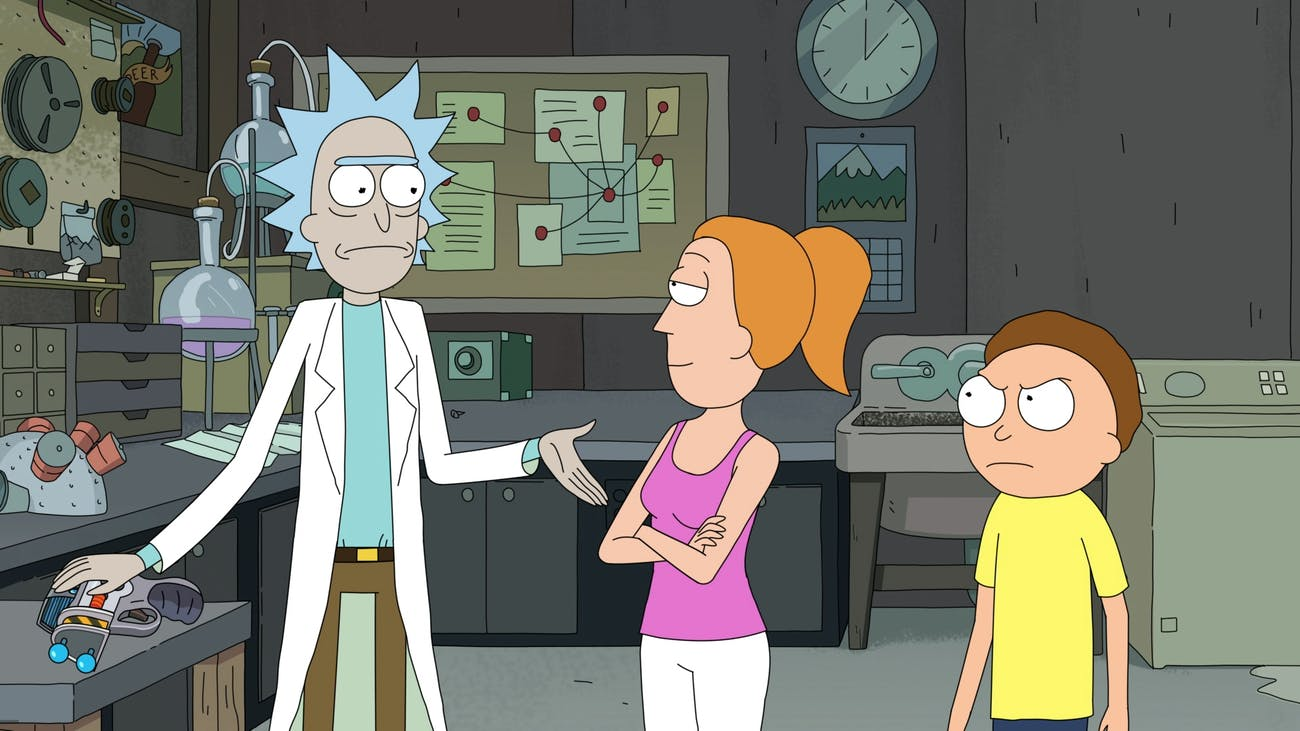 'Rick and Morty' Summer and Morty in Rick's Garage