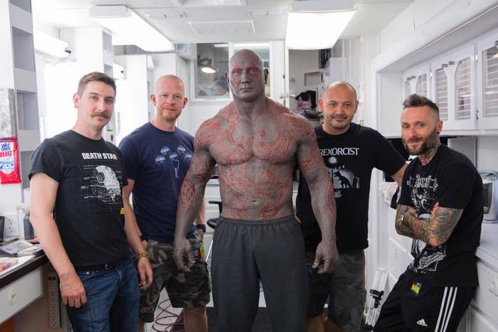 Dave Bautista and his makeup team
