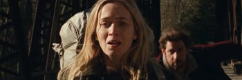 Emily Blunt co-stars in 'A Quiet Place' alongside her real-life husband John Krasinski.