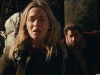 Emily Blunt co-stars in 'A Quiet Place' alongside her real-life husband John Krasinski.