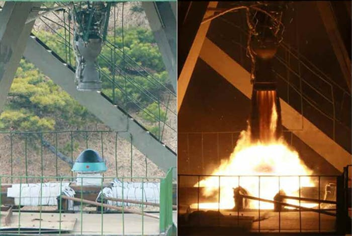 Testing the heat shield for one of North Korea's prospective ICBM's.
