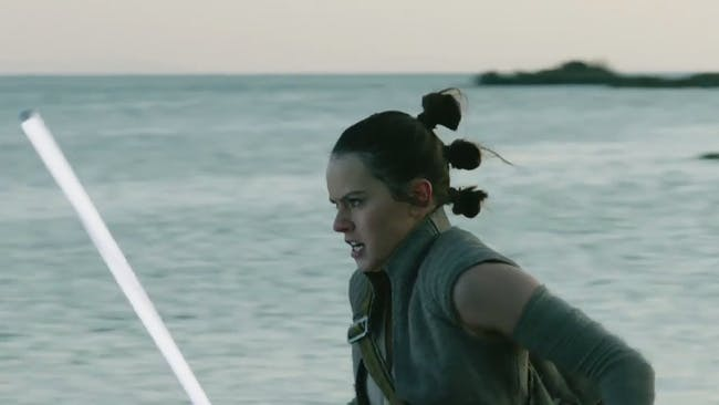 Rey rushes to aid some of the local in this deleted scene.