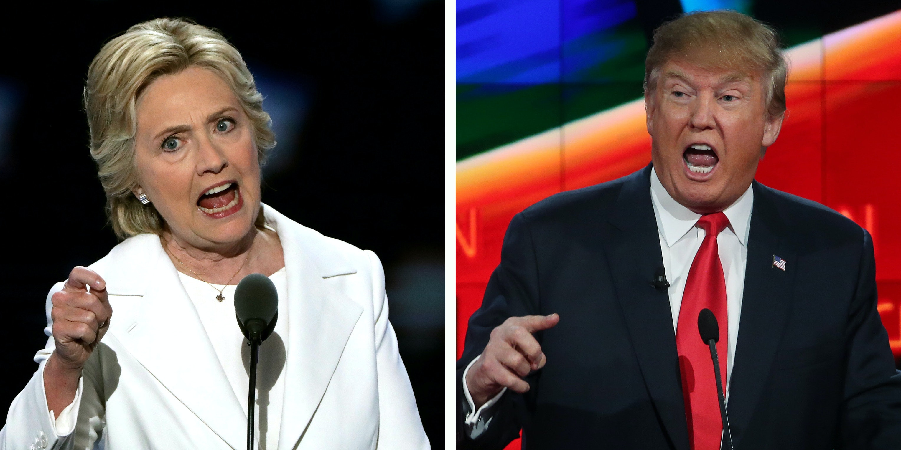 (FILE PHOTO) In this composite image a comparison has been made between former US Presidential Candidates Hillary Clinton (L) and Donald Trump.  LEFT IMAGE   PHILADELPHIA, PA - JULY 28:  Democratic presidential candidate Hillary Clinton delivers remarks during the fourth day of the Democratic National Convention at the Wells Fargo Center, July 28, 2016 in Philadelphia, Pennsylvania. Democratic presidential candidate Hillary Clinton received the number of votes needed to secure the party's nomination. An estimated 50,000 people are expected in Philadelphia, including hundreds of protesters and members of the media. The four-day Democratic National Convention kicked off July 25.  (Photo by Alex Wong/Getty Images)  RIGHT IMAGE  LAS VEGAS, NV - DECEMBER 15:  Republican presidential candidate Donald Trump during the CNN Republican presidential debate on December 15, 2015 in Las Vegas, Nevada. This is the last GOP debate of the year, with U.S. Sen. Ted Cruz (R-TX) gaining in the polls in Iowa and other early voting states and Donald Trump rising in national polls.  (Photo by Justin Sullivan/Getty Images)