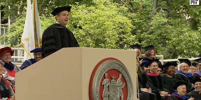 Matt Damon gives the 2016 commencement address at MIT.