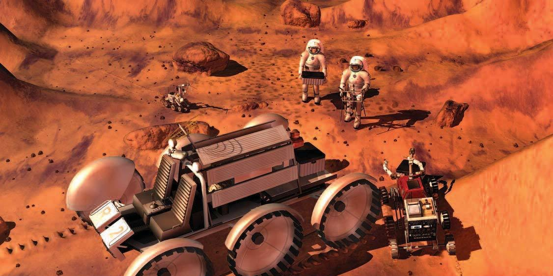 An artist's drawing of humans exploring Mars