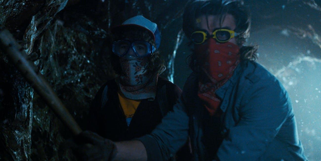 Gaten Matarazzo and Joe Keery in Stranger Things Season 2